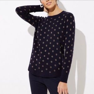LOFT Navy Blue Sweater with Gold Polka Dots